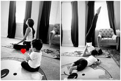 Phạm Hương vừa tập yoga giữ dáng vừa chăm con trai khiến hội chị em thán phục