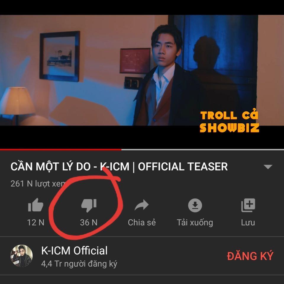 Sau vài giờ đăng tải lượng dislike của teaser MV Cần một lý do của K-ICM đang tăng tốc với độ không phanh-4