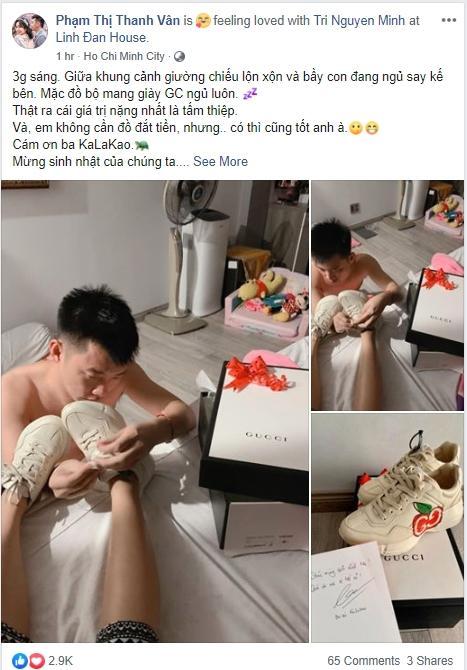 Sướng như Ốc Thanh Vân: chồng mang thiệp tận giường, xỏ giày hiệu tận chân cho vợ nhân dịp sinh nhật-4