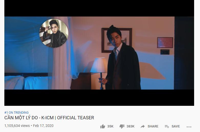 Teaser MV của ca sĩ K-ICM nhảy vọt top 1 trending với lượt dislike cao gấp 11 lần like mới hốt!-2