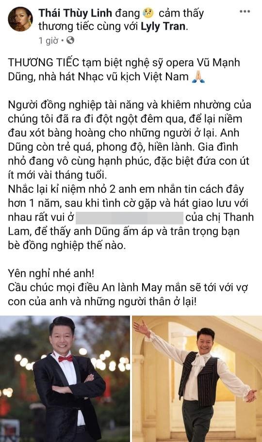 Sao Việt bàng hoàng trước sự ra đi của NSƯT Vũ Mạnh Dũng - giọng ca opera bị anh vợ sát hại-5