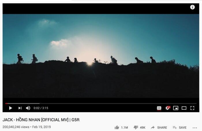 Jack trở thành ca sĩ Vpop đầu tiên có 3 MV trên 200 triệu view với Hồng nhan-1