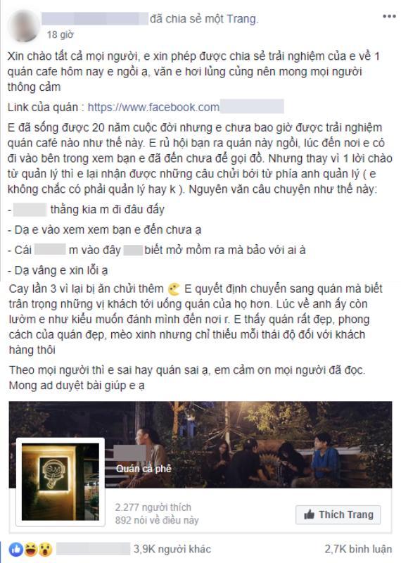 Quán cafe nổi tiếng Hà Nội bị tố vô văn hóa, chủ quán chửi khách: Mày đến không biết mở mồm chào hỏi ai à?-2
