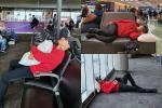 Tuấn Hưng không đeo khẩu trang, ngủ vạ vật tại sân bay Mỹ sau 5 đêm diễn liền tù tì không chợp mắt