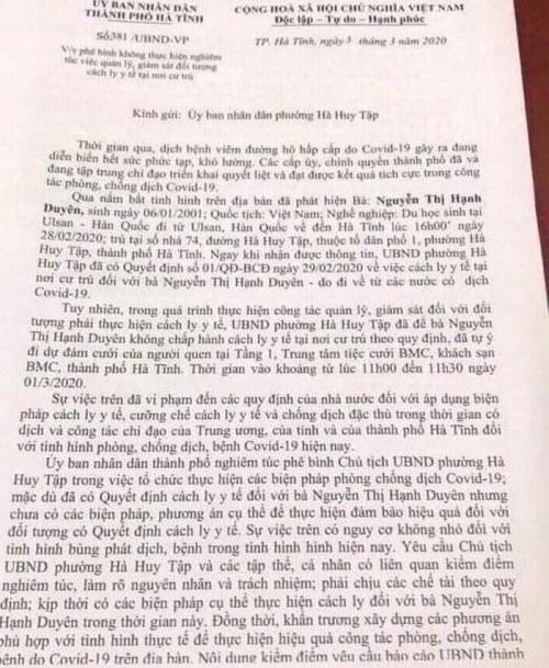 Nữ sinh về từ Hàn Quốc không chịu cách ly, cố tình đến đám cưới, Chủ tịch UBND phường ở Hà Tĩnh bị phê bình-1