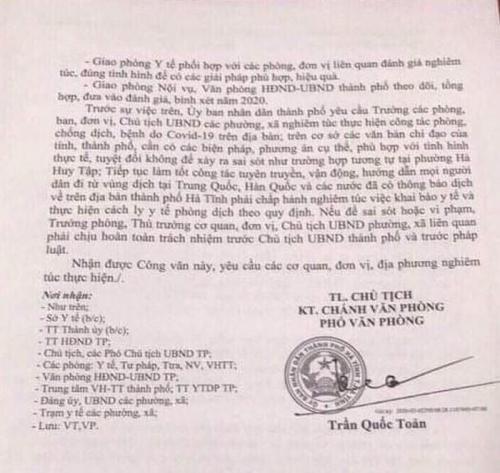 Nữ sinh về từ Hàn Quốc không chịu cách ly, cố tình đến đám cưới, Chủ tịch UBND phường ở Hà Tĩnh bị phê bình-2