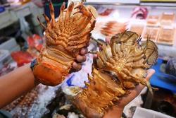 Người Nhật sơ chế tôm mũ ni đỏ làm sashimi