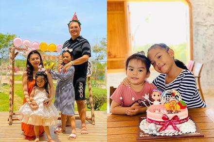 Phạm Quỳnh Anh - Quang Huy vui vẻ đoàn tụ chúc mừng sinh nhật con gái út