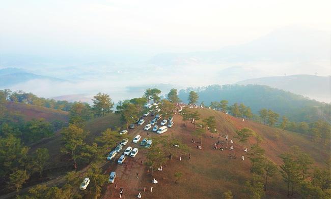 Hàng chục cặp cô dâu, chú rể kéo đến ngọn đồi hot nhất tại Đà Lạt, chen nhau từng mét vuông đất chỉ để chụp ảnh-2