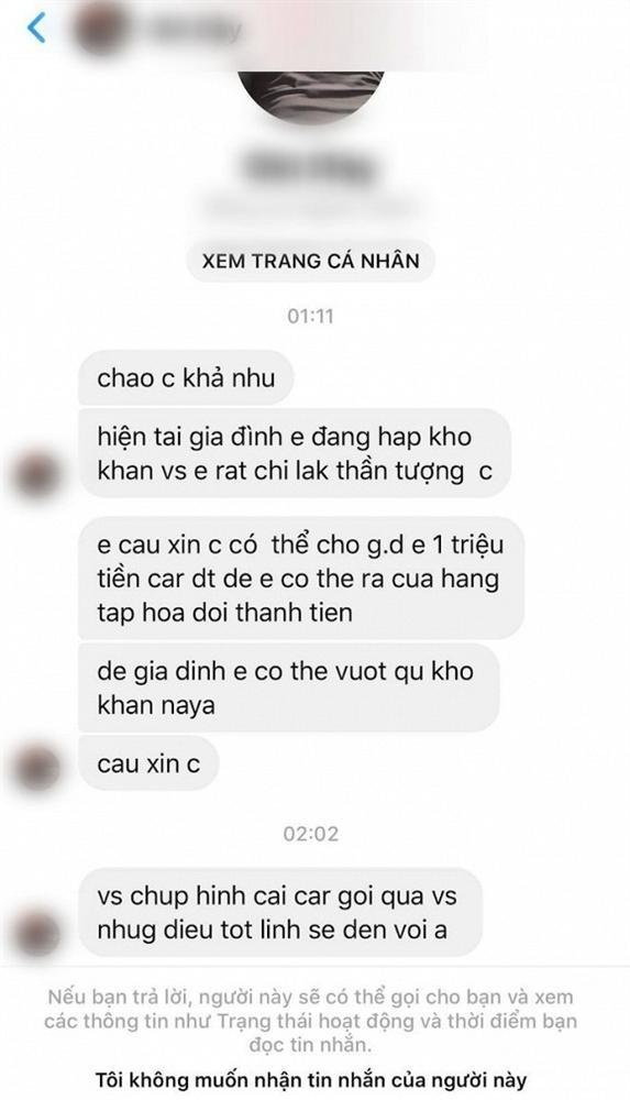 Diễn viên Khả Như đứng hình khi fan nhắn tin cầu xin 1 triệu tiền card để giúp gia đình qua khó khăn-1
