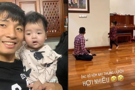 Giải nghỉ vì Covid-19, hội ông bố bỉm sữa tuyển Việt Nam ở nhà chăm con cực khéo