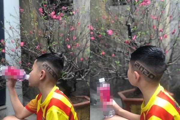 Hưởng ứng phong trào chống COVID-19 như chống giặc, cậu bé được bố khắc chữ đặc biệt trên đầu-3