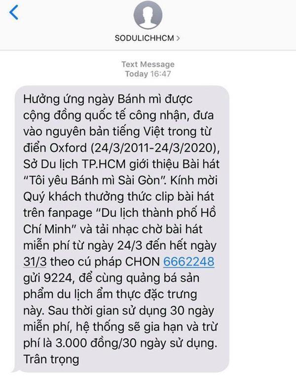 Hot: Sở Du lịch TP.HCM gửi tin nhắn giới thiệu ca khúc Tôi Yêu Bánh Mì Sài Gòn khiến người dân thích thú-2
