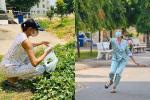 Ngày cách ly thứ 7 của Võ Hoàng Yến: Hái rau lang về luộc, đánh cầu lông với dân