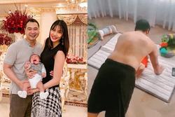 Lan Khuê bật cười khi xem chồng đại gia vừa hít đất vừa hôn quý tử 4 tháng tuổi