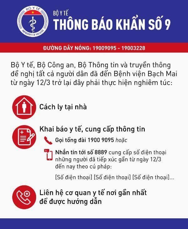 Thông báo khẩn gửi người dân đã đến BV Bạch Mai từ ngày 12/3-1
