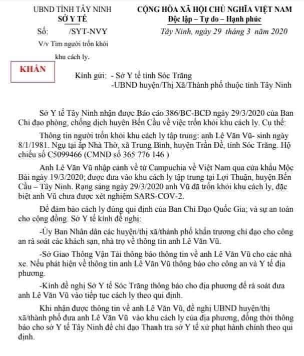 Chưa kịp xét nghiệm, thanh niên trốn khỏi khu cách ly khiến Tây Ninh phải lập tức thông báo khẩn cho 9 huyện cùng truy tìm-1