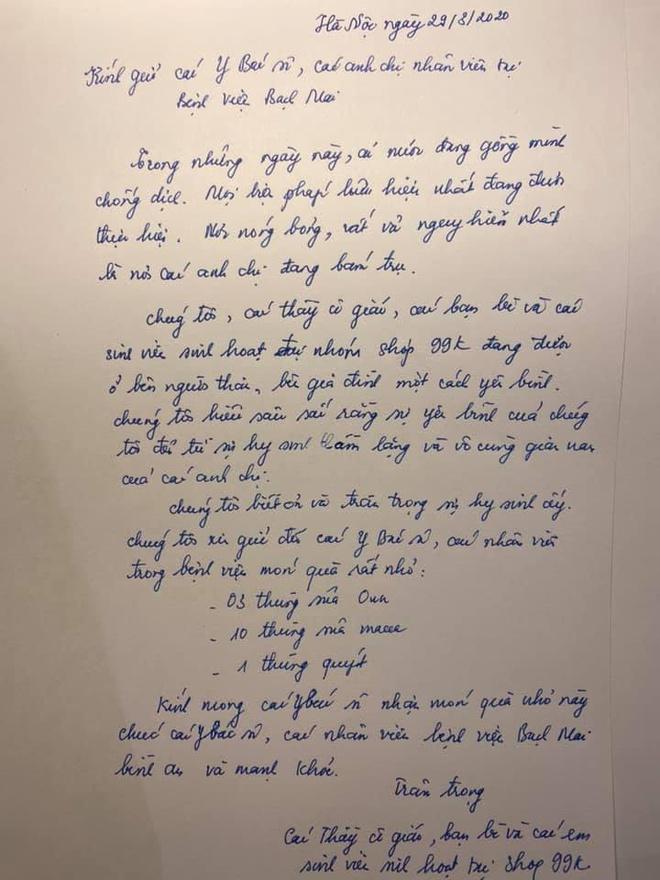 Dân mạng viết thư tay, gửi quà ủng hộ y bác sĩ tại bệnh viện Bạch Mai-3