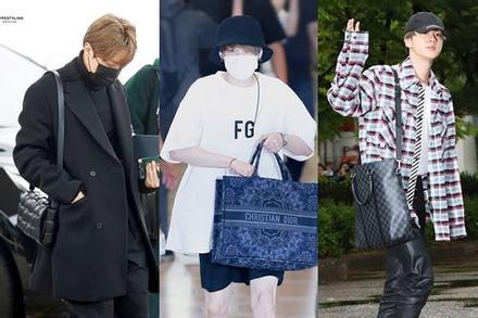 BTS thể hiện gu thời trang nơi phi trường: Đẳng cấp diện túi hàng hiệu 'đắt xắt ra miếng'