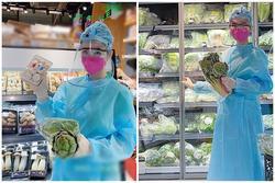 Angela Phương Trinh mặc full set đồ bảo hộ phòng dịch đi siêu thị mua đồ chuẩn bị 15 ngày cách ly