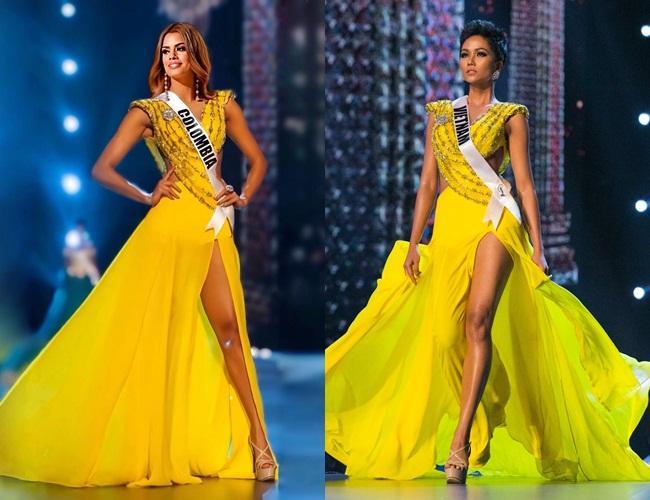 Bản tin Hoa hậu Hoàn vũ 3/4: Chuyện gì xảy ra khi Ariadna mặc thử váy vàng huyền thoại của HHen Niê?-2