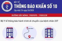 TIN KHẨN: Bộ Y tế phát thông báo về lịch trình của ca bệnh 237, đề nghị ai tới những địa điểm này liên hệ ngay cơ quan y tế