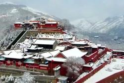 Tuyệt cảnh Ngũ Đài sơn trong tuyết phủ trắng xóa ở Trung Quốc
