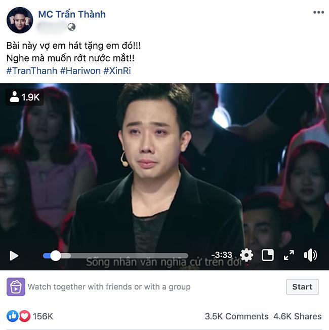 Trấn Thành rớt nước mắt khi Hari Won viết tặng ca khúc Anh Xìn Là Cả Bầu Trời-1