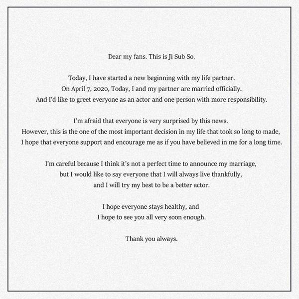 So Ji Sub viết tâm thư gửi fan sau tin đám cưới bất ngờ: Đây là quyết định quan trọng nhất đời tôi-2