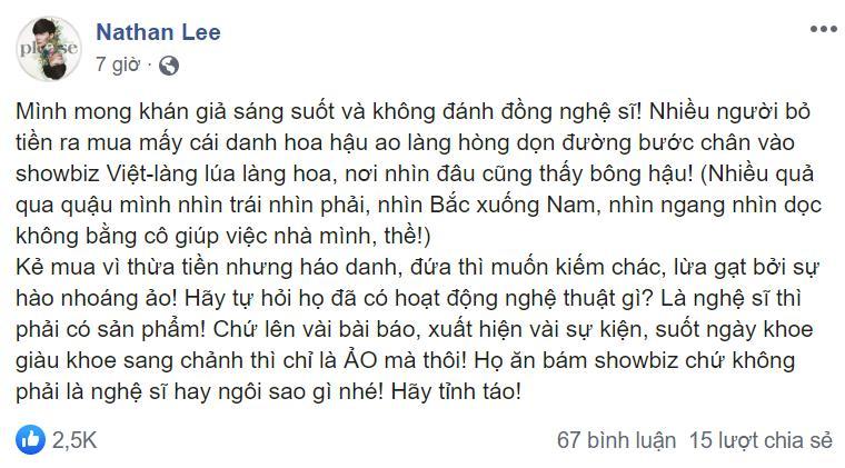 Nathan Lee chê hoa hậu ao làng không bằng người giúp việc, Thu Hoài ẩn ý đáp trả náo loạn MXH-1