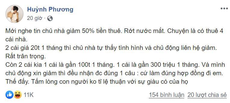 Huỳnh Phương FapTV trách móc chủ nhà không giảm tiền thuê mặt bằng trong đại dịch Covid-19-2