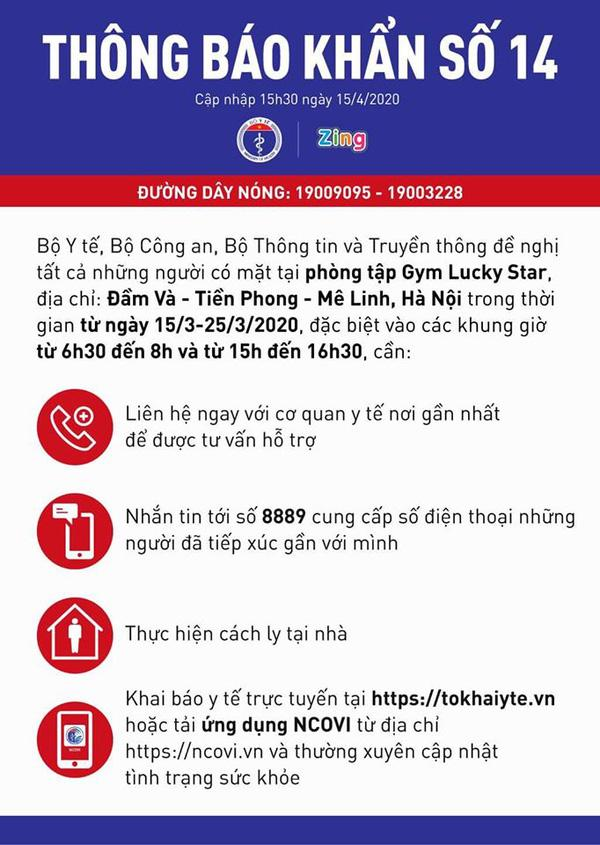 VZN News: Đồng loạt 3 Bộ ra thông báo khẩn: Đề nghị những người đi tập gym ở Đầm Và, Hà Nội khai báo y tế gấp-1