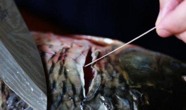 Không cần dùng giấm hay rượu khử tanh, chỉ cần rút sợi này khi mổ cá sẽ hết mùi-1