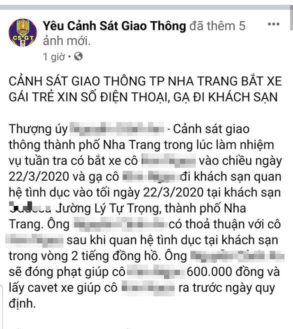 Một CSGT ở Nha Trang gạ tình phụ nữ vi phạm giao thông?-1
