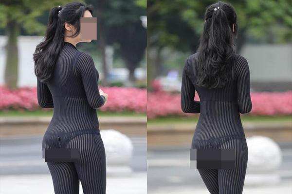 Mặc đồ mỏng tang đi dạo phố, cô gái lộ nội y phản cảm làm người đi đường lắc đầu ngao ngán