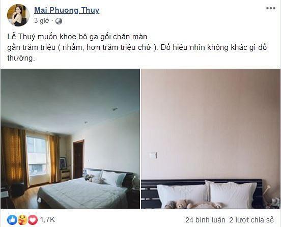 Hoa hậu Mai Phương Thúy lần đầu tiên khoe phòng ngủ, đáng chú ý là bộ chăn ga giá hơn 100 triệu đồng-1