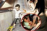 Thót tim xem clip bé trai bị kẹt chân vào thang cuốn ở trung tâm thương mại ở Hà Nội