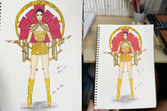 Sau Quốc phục Miss Cai Lậy 7 miếng đất, xuất hiện thêm trang phục dân tộc chống Covid-19 siêu lạ cho Khánh Vân-5