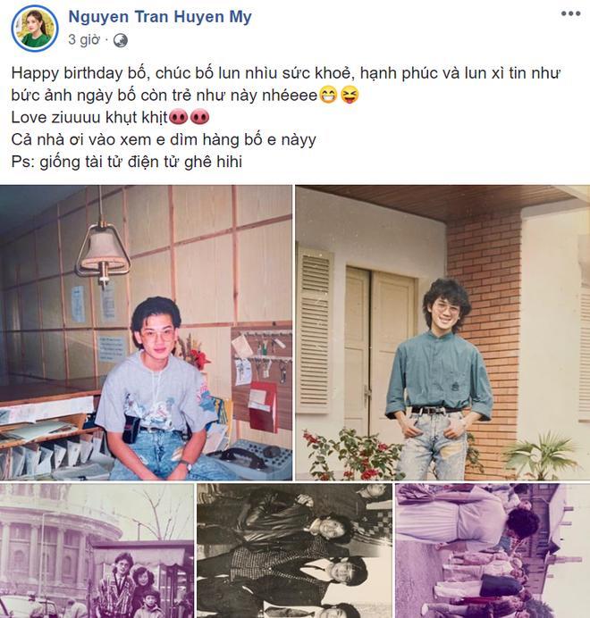 Huyền My đăng ảnh dìm hàng bố nhân dịp sinh nhật nhưng fan lại trầm trồ về phong cách tài tử Hong Kong chất lừ-1