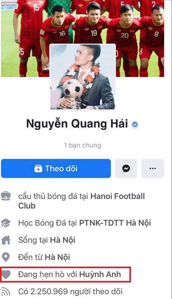 Bị tấn công chuyện yêu người mới, Quang Hải - Huỳnh Anh cùng lúc đổi trạng thái Facebook sang HẸN HÒ-2