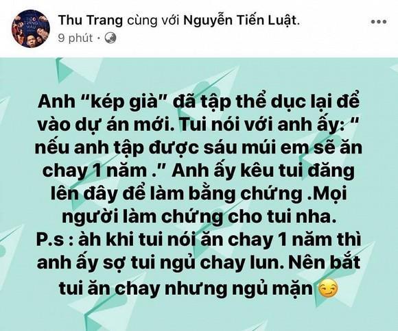 Thu Trang chơi lớn hứa sẽ ăn chay 1 năm nếu Tiến Luật tập lên 6 múi, cư dân mạng cười không nhặt được mồm-2
