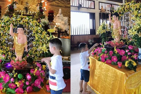 Mới 4 tuổi, con trai Ly Kute đã có hành động gây chú ý khi đi lễ phật-1