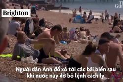 Bãi biển ở Anh chật kín người trong ngày nóng kỷ lục