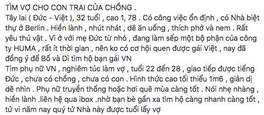 Người phụ nữ tuyển vợ cho con chồng Việt lai Đức: Mong tìm con dâu truyền thống, hơi quê mùa càng tốt-1