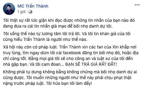 Trang Trần - Trịnh Thăng Bình đồng loạt bênh Trấn Thành giữa tin đồn sử dụng ma túy-4