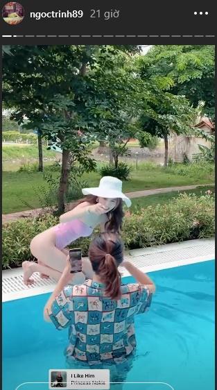 Ngọc Trinh khoe ảnh bikini với những góc chụp hiểm tại bể bơi nhưng hóa ra nhờ công 1 người-7