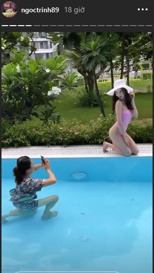 Ngọc Trinh khoe ảnh bikini với những góc chụp hiểm tại bể bơi nhưng hóa ra nhờ công 1 người-8