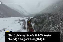 Cuối tháng 5, tuyết vẫn rơi phủ kín một thung lũng ở Trung Quốc