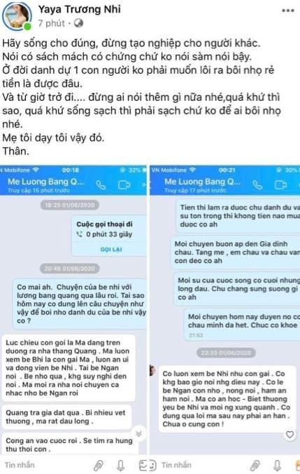 Bị đồn là chủ mưu đánh Lương Bằng Quang nhập viện, Yaya Trương Nhi trưng tin nhắn với mẹ tình cũ làm bằng chứng vô can-3