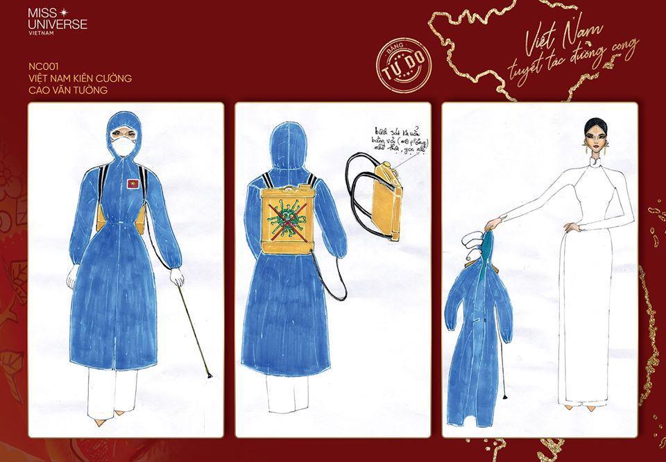 Sau Quốc phục Miss Cai Lậy 7 miếng đất, xuất hiện thêm trang phục dân tộc chống Covid-19 siêu lạ cho Khánh Vân-2